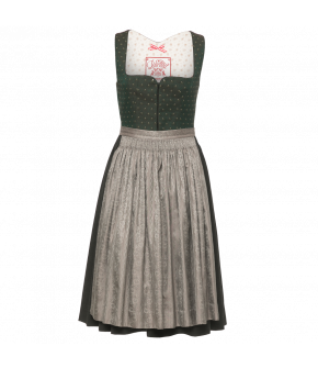 Dirndl in wool and silk with a wide rounded neckline and sweet flower print. Fastens at the front with hook-and-eye fastening. Skirt and apron are gathered by hand. The contrasting coloured apron is made of silk.