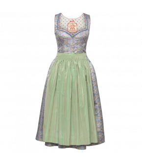 Walburga Dirndl in blue with green apron - SS21 summer collection - Lena Hoschek Tradition