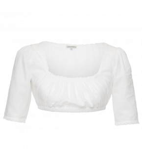 Half-sleeved Dirndl-blouse with lightly puffed sleeves, wide square neckline and lace trim at the neckline and cuffs. Elasticated underbust.