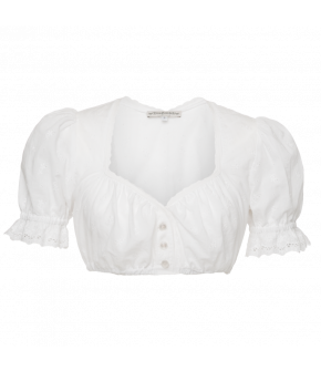 Beautiful Lena Hoschek Dirndl blouse featuring a sweetheart neckline, lightly puffed sleeves and all-over embroidery. Button-through front fastening and Elastic underbust. Lace trim at neckline and sleeves.
