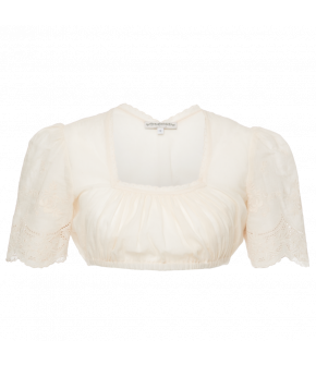 Classic Lena Hoschek Dirndl blouse with a square neckline, lightly puffed sleeves and gathered front. Elastic underbust. Lace trim at neckline and embroidered detail at the sleeves.