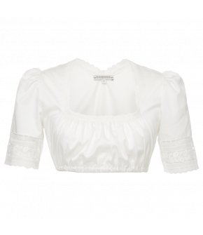 Classic Lena Hoschek Dirndl blouse with a square neckline, lightly puffed sleeves and gathered front. Elastic underbust. Lace trim along the neckline and at the sleeves.