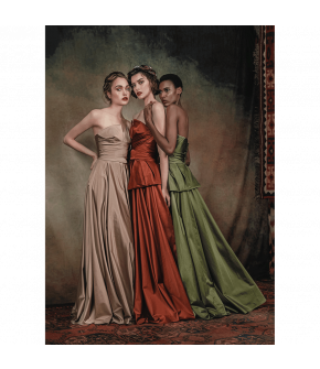 """1001 nights gown champagne, cayenne & green"" by Lena Hoschek - Artisan Partisan - Autumn/winter collection AW20/21"