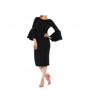 "Black pencil dress by Lena Hoschek with embellished bell sleeves ""Alessandra Dress black"""