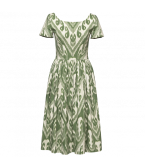 Anne Dress ikat vert in green print by Lena Hoschek - SS21 summer collection - Antoinette's Garden