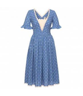 Antoinette Dress in blue with flowers by Lena Hoschek - SS21 summer collection - Antoinette's Garden