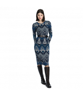 "Fitted longsleeved dress with Western inspired pattern in blue shades by Lena Hoschek ""Artisan"""