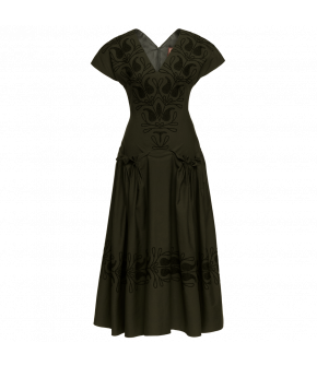 Aziza Dress in dark green by Lena Hoschek for the AW2021 collection Artisan Partisan.