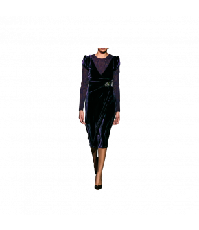 Figure-hugging asymmetric wrap-dress with petal sleeves. This short-sleeved velvet dress features a side button fastening and is fully lined. Brooch sold separately.