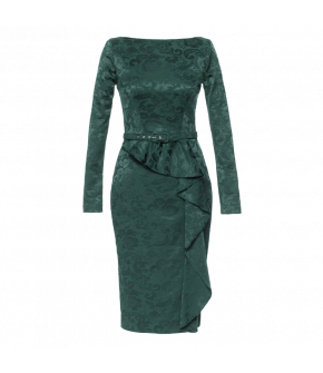Tight-fitting long-sleeved dress with volant detail skirt. Featuring a straight neckline, back slit and matching waist belt. The skirt is decorated with a striking diagonal flounce. This fully lined dress fastens at the back with a button and zip.