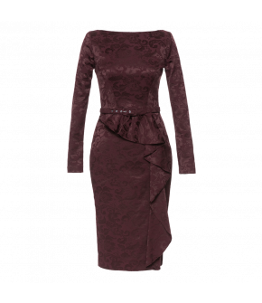 Long-sleeved pencil dress with boat neckline and back slit. The figure-hugging skirt features an elegant diagonal flounce. Fully lined with a matching narrow belt. Fastens at the back with a zip and button fastening.