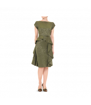 Boatneck midi-dress with short petal sleeves. This figure-hugging style features a narrow waistbelt and a diagonal flounce on the skirt to flatter a curvy figure. Fully lined with a back zip fastening.