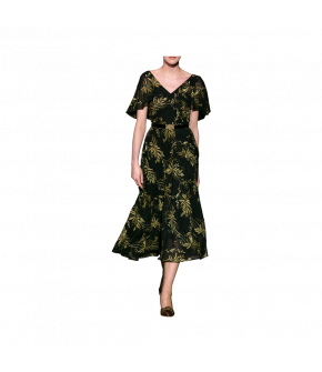 Flowing midi-length dress with a fitted waist and delicate leaf design pattern. Featuring a V-neckline and sheer, half-length flutter sleeves and hidden pockets. Lined bodice and skirt. Side zip fastening. Belt sold separately.