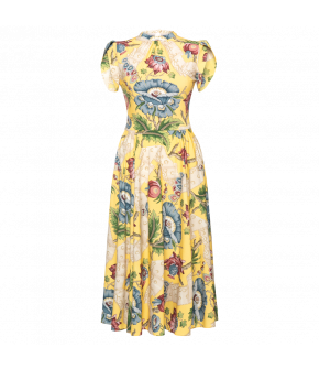 Géraldine Dress versailles jaune in yellow with flowers by Lena Hoschek - SS21 summer collection - Antoinette's Garden