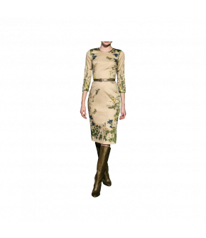 Figure-hugging dress with 3/4 sleeves and rounded neckline. What really makes this simple dress stand out is the striking pattern of the fabric, exclusively designed by Lena Hoschek and featuring flowers, leaves and insects like garden borders down the si