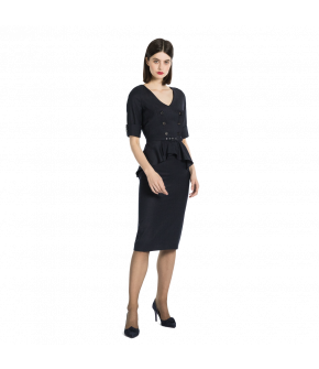 Belted pencil dress with a V neckline, half-length cuffed sleeves and peplum detail. Featuring double-breasted details at the front and a walking slit at the back of the skirt. Closes at the back with a zip. Fully lined and made from a lightweight crinkle