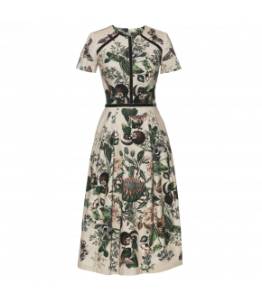 Fitted dress with a pleated skirt, velvet ribbon embellishment on the top. Featuring short sleeves and hidden side pockets. The lush botanical design was created especially for this collection by Lena Hoschek. Fully lined. Belt not included.