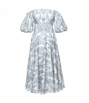 Gloriette dress ikat blue by Lena Hoschek - SS21 summer collection - Antoinette's Garden