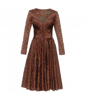 Amber coloured long-sleeved dress with a full, flared skirt. Fitted at the waist, the dress features decorative fabric covered buttons down to the waist at the front and pleats at the bust. With a back zip fastening and hidden side pockets. The sleeves fe