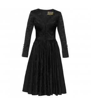 Long-sleeved dress made of beautiful back Damask. Featuring a fitted waist, flared skirt and decorative buttons down the middle of the bodice. The sleeves have extra-long sleeve slits with matching fabric-covered buttons. Fastens at the back with a zip. L