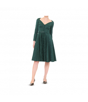 Deep green long-sleeved dress made of Damask fabric with a full, flared skirt. The fitted bodice part features decorative buttons down the front and pleats to flatter the bust. The long sleeves have long sleeve slits with buttons covered in the same Damas