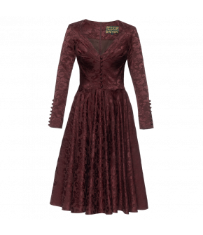 Deep red long-sleeved dress made of Damask fabric with a full, flared skirt. The fitted bodice part features decorative buttons down the front and pleats to flatter the bust. The long sleeves have long sleeve slits with buttons covered in the same Damask