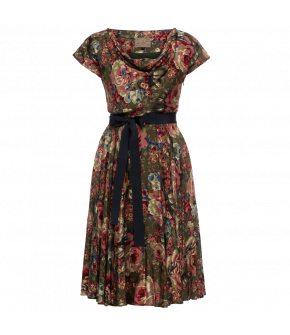 "Floral minidress ""Hummingbird"" with cowl neckline by Lena Hoschek"