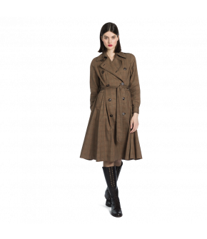 Double-breasted trenchcoat dress made from a subtle checked fabric with a large lapel collar and welt pockets at the front. Featuring a matching selftie belt to highlight the waist and a box pleat at the back. Fully lined.