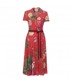 Isabeli Dress dahlia red with flowers by Lena Hoschek - SS21 summer collection - Antoinette's Garden