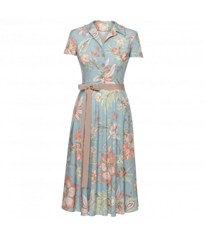 Isabeli Dress indienne ciel in blue with flowers by Lena Hoschek - SS21 summer collection - Antoinette's Garden