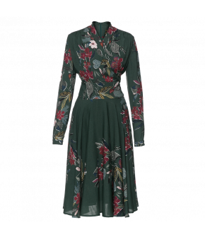 Wrap-over top dress with long sleeves and a flared skirt. Featuring concealed side pockets and a zip fastening at the back. Lined. Belt sold separately.