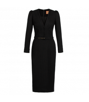 "Figure-hugging black ""Kate"" dress from Lena Hoschek with subtle belt and decorative buttons - Artisan Partisan - Autumn/winter collection AW20/21"