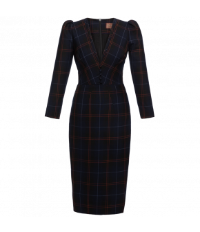 Lena Hoschek Dress Kate in blue check - Artisan Partisan - Autumn/winter collection AW20/21