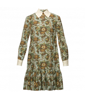 Kitty Dress in turquoise with flowers Lena Hoschek - AW21/22 autumn/winter collection - Biedermeier
