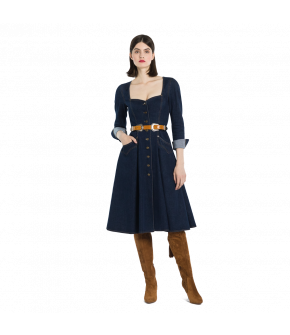 Dark blue flared denim dress with a Button-through front. Featuring a fitted top with a low heart-shaped neckline and decorative topstitching, as well as Western-style flap pockets on the front of the skirt. The dress has long sleeves with cuffed hems, wi