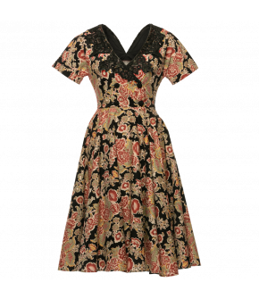 Leonore Dress in black with flowers by Lena Hoschek - AW21/22 autumn/winter collection - Biedermeier