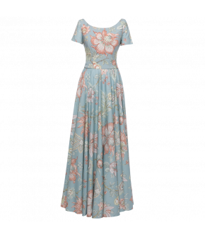 Ma Chère Dress long indienne ciel with flowers by Lena Hoschek - SS21 summer collection - Antoinette's Garden