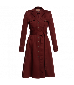 """Madeleine dress merlot"" in red by Lena Hoschek - Artisan Partisan - Autumn/winter collection AW20/21"