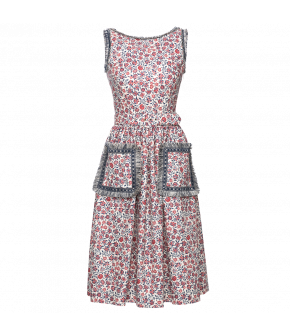 Maggie Dress française with red flowers by Lena Hoschek - SS21 summer collection - Antoinette's Garden