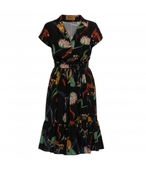 Black shirt dress with circle skirt from Lena Hoschek with sweet floral print