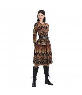 Long-sleeved dress with a fitted top and full skirt made from a jacquard knit fabric with an exclusive pattern developed by Lena Hoschek. Featuring hidden side-seam pockets and a back zip closure. The belt is sold separately by DUKES Finest Artisan.