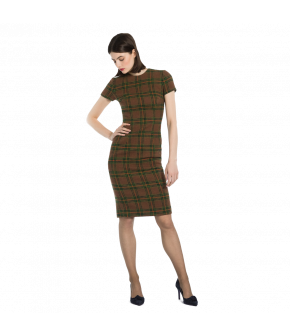 "Fitted shift dress with green and orange check pattern by Lena Hoschek ""Player"""
