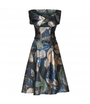 Stunning bustier dress with draped, overlap detail at the top. Featuring a full, flared skirt with hidden side seam pockets and a matching fabric-covered waistbelt. Fastens with a zip at the side. The metal thread in the fabric gives the floral pattern a