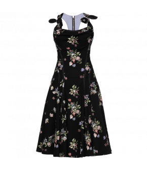 """Restriction"" dress in midnight black with floral print by Lena Hoschek - Season of the Witch - SS20 summer collection"