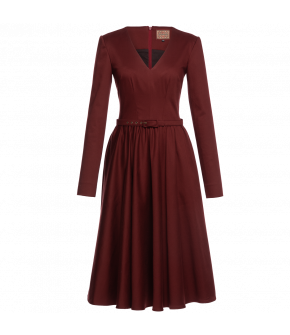 "Red dress ""Samira merlot"" by Lena Hoschek - Artisan Partisan - Autumn/winter collection AW20/21"