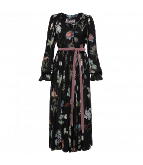 Black Séance dress with floral print by Lena Hoschek - Season of the Witch - SS20 summer collection