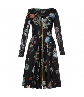 "Black ""Sinner"" dress with floral pattern by Lena Hoschek - Season of the Witch - SS20 summer collection"