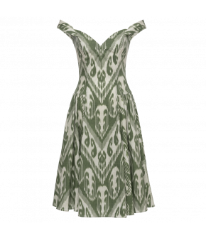 Sophia Dress ikat vert in green and white by Lena Hoschek - SS21 summer collection - Antoinette's Garden