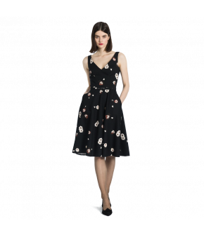 "Black, sleeveless V-neck dress with flower print by Lena Hoschek ""Sterling"""