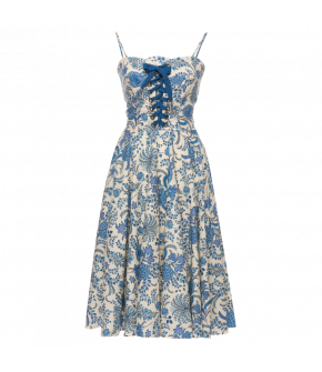 Sunny Side Dress porcelaine in blue by Lena Hoschek - SS21 summer collection - Antoinette's Garden